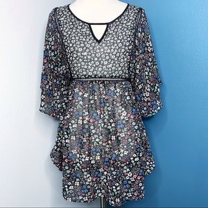 Jessica Simpson Pink Blue Floral Maternity Top Sml